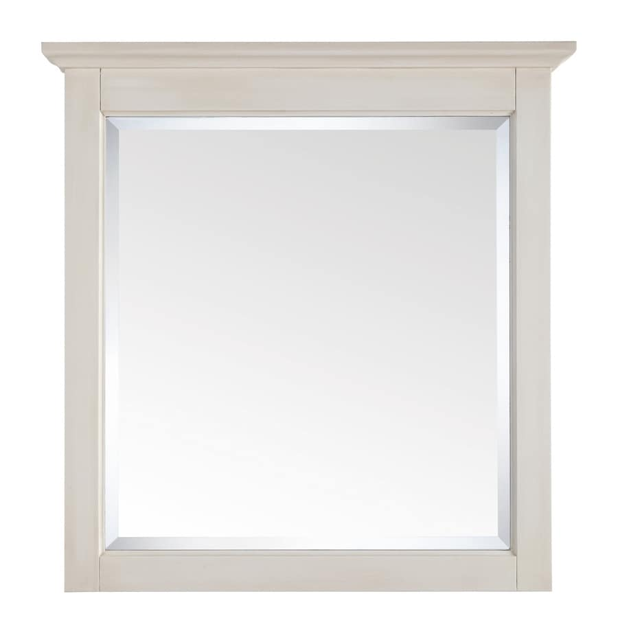 Shop avanity tropica 31 in x 32 in antique white for White framed mirror