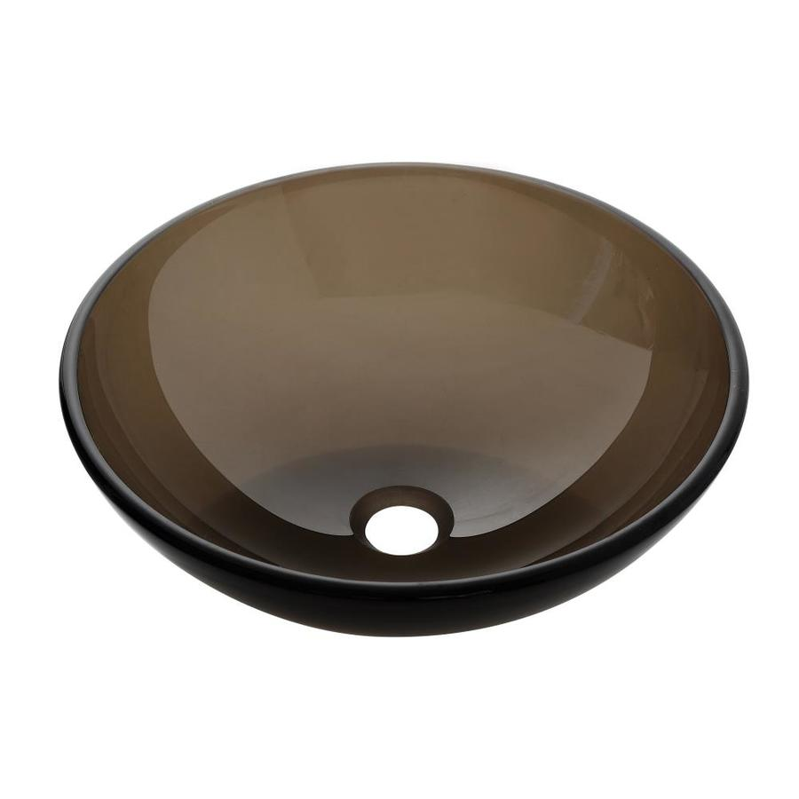 Avanity Brown Tempered Glass Vessel Round Bathroom Sink