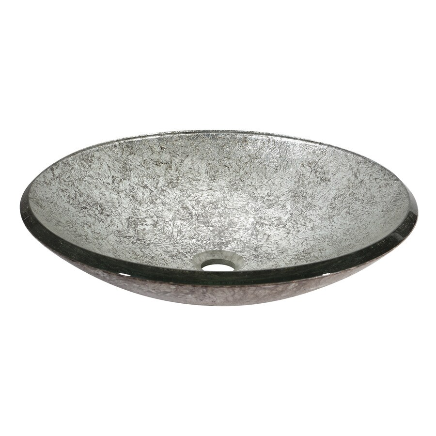 ... Metallic Silver Tempered Glass Vessel Round Bathroom Sink at Lowes.com