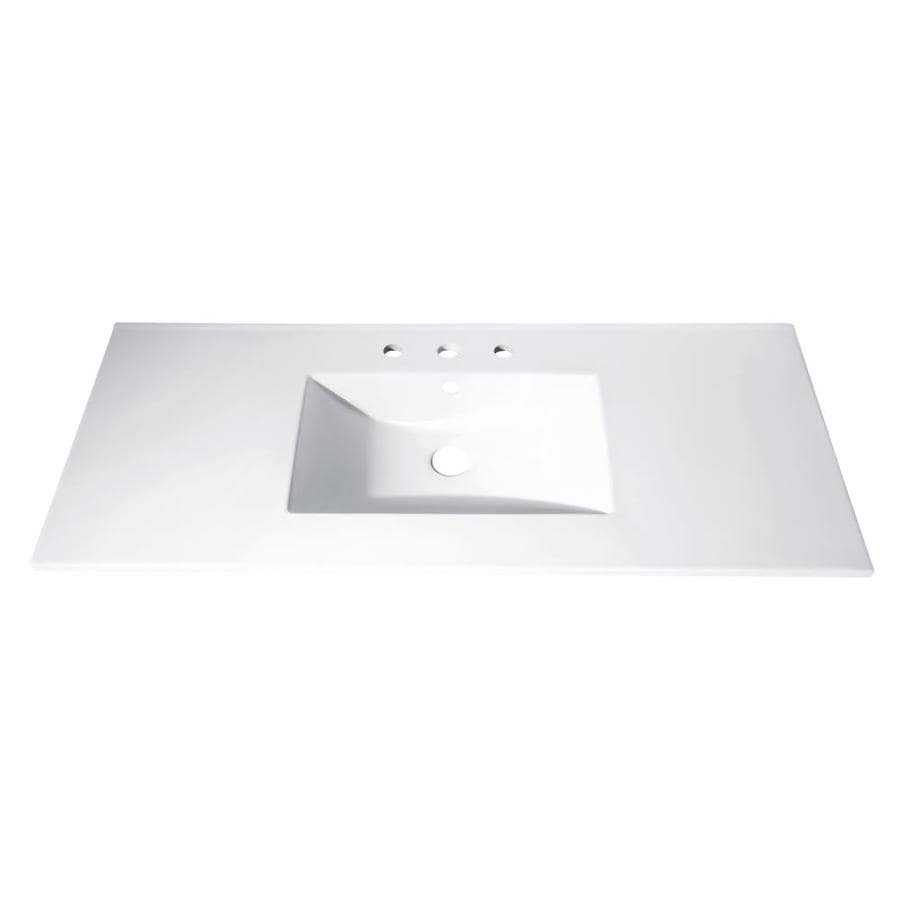 Avanity Loft White Vitreous China Integral Single Sink Bathroom Vanity Top (Common: 49-
