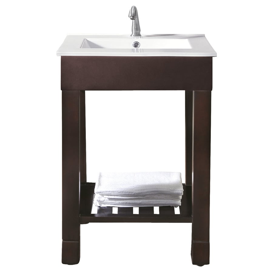 Avanity Loft Dark Walnut (Common: 25-in x 22-in) Integral Single Sink Poplar Bathroom Vanity with Vitreous China Top (Actual: 25-in x 22-in)