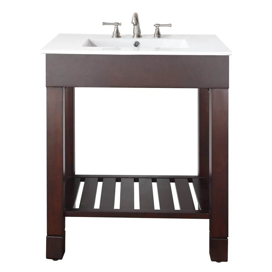 Avanity Loft Dark Walnut Integrated Single Sink Bathroom Vanity with Vitreous China Top (Common: 31-in x 22-in; Actual: 31-in x 22-in)
