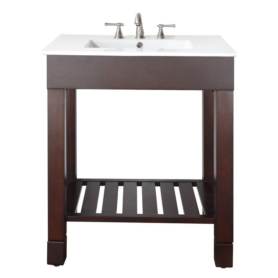 Avanity Loft Dark Walnut (Common: 31-in x 22-in) Integral Single Sink Poplar Bathroom Vanity with Vitreous China Top (Actual: 31-in x 22-in)