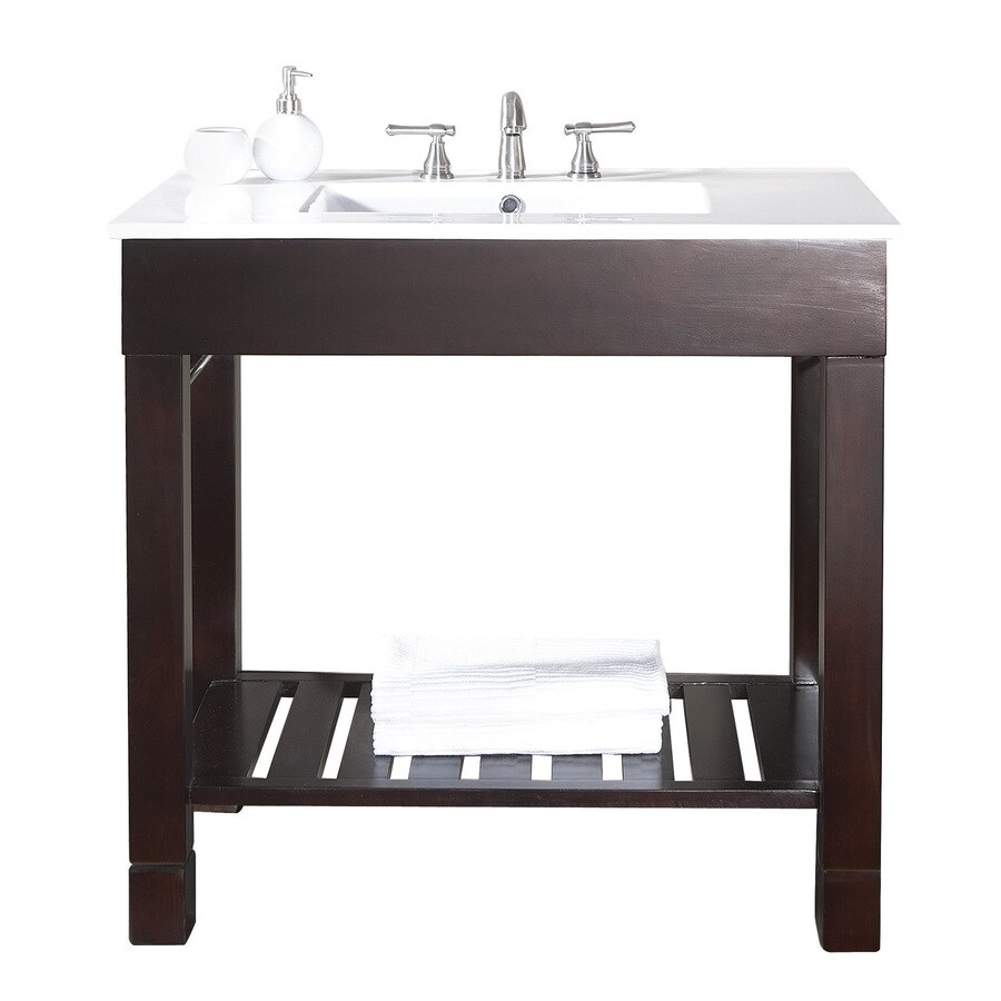 Avanity Loft Dark Walnut Integrated Single Sink Bathroom Vanity with Vitreous China Top (Common: 37-in x 22-in; Actual: 37-in x 22-in)