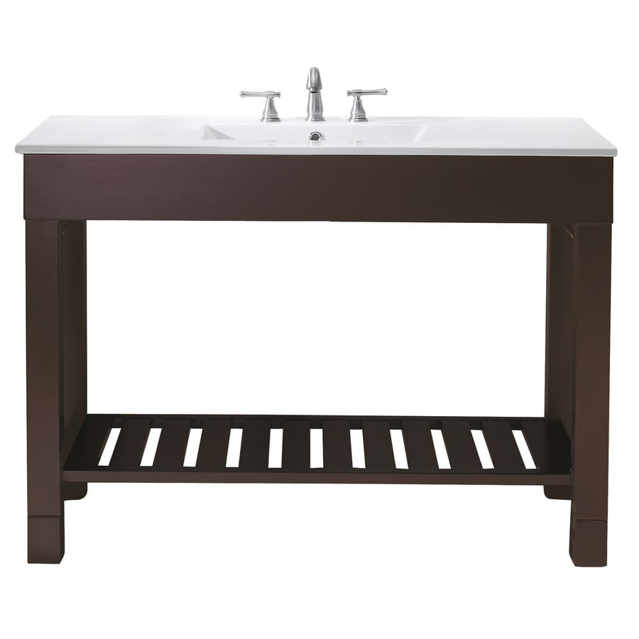 Avanity Loft Dark Walnut 49-in Integral Single Sink Poplar Bathroom Vanity with Vitreous China Top