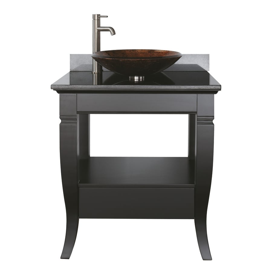 Avanity Milano Black Single Vessel Sink Bathroom Vanity With Granite Top Common 31
