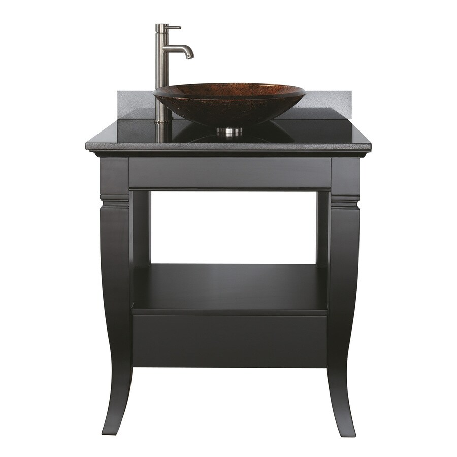 Shop Avanity Milano Black Single Vessel Sink Bathroom Vanity With Granite Top