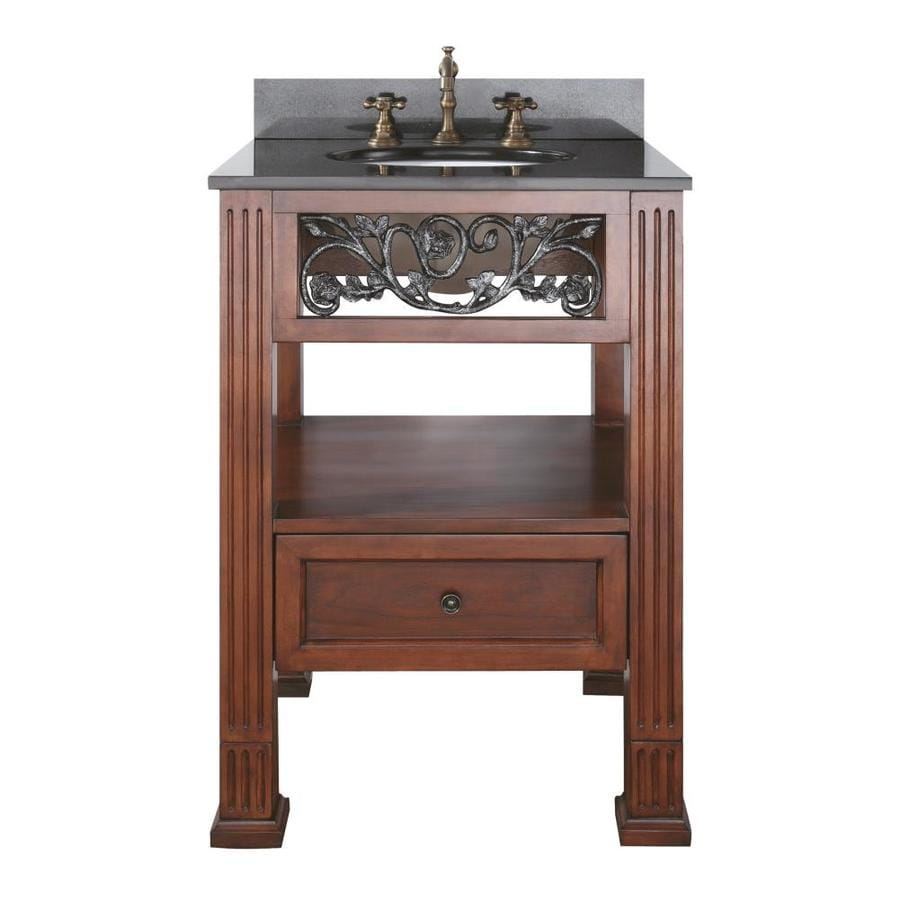 Avanity Napa Dark Cherry Undermount Single Sink Bathroom Vanity with Granite Top (Common: 25-in x 22-in; Actual: 25-in x 22-in)