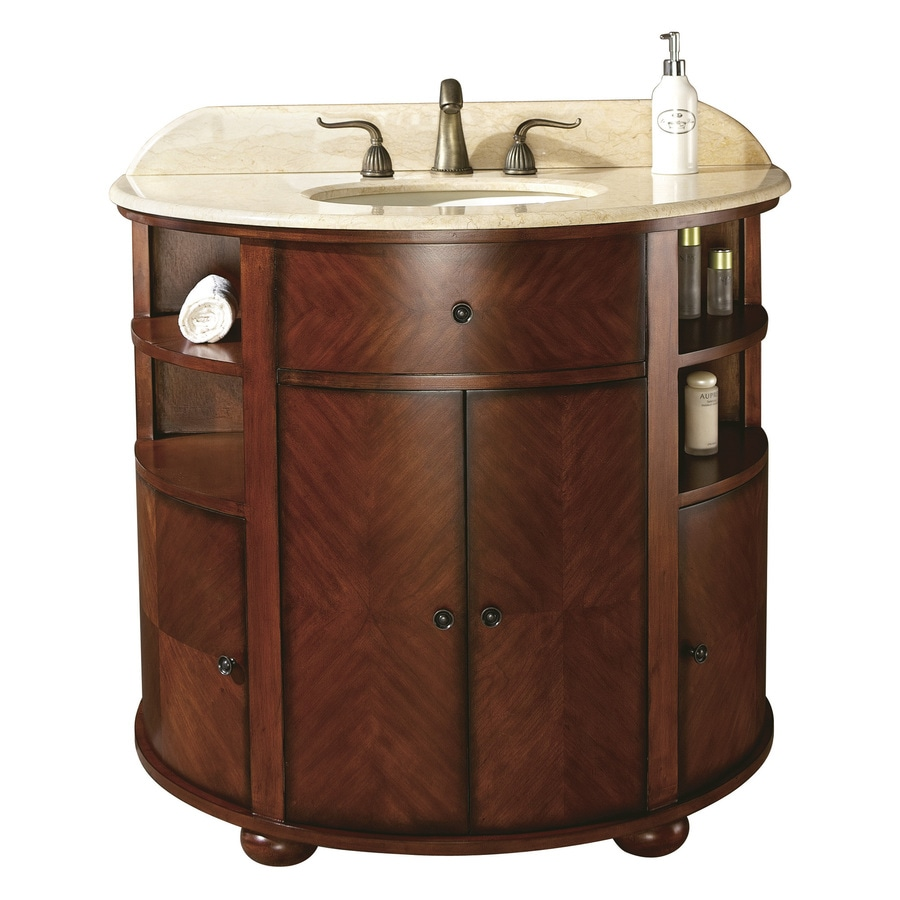 Avanity Oxford Dark Cherry (Common: 38-in x 21.5-in) Undermount Single Sink Birch Bathroom Vanity with Natural Marble Top (Actual: 38-in x 21.5-in)