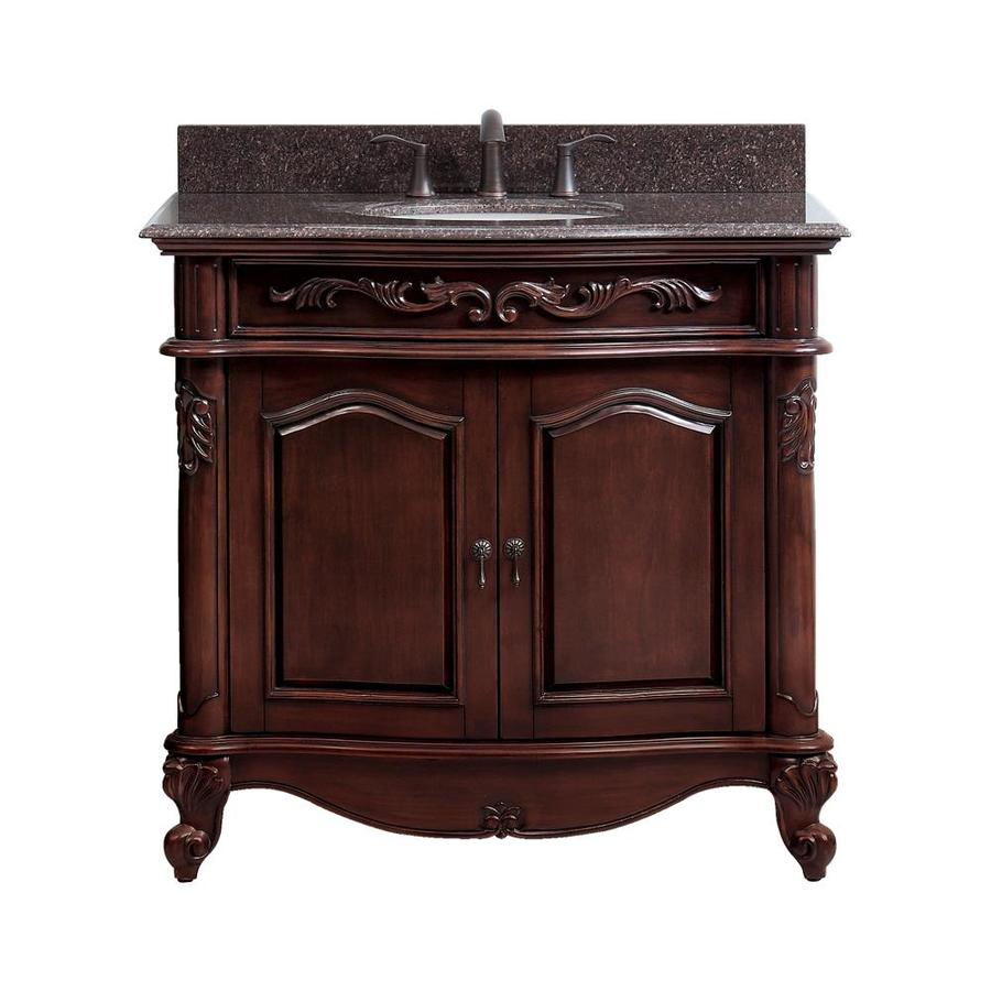 Avanity Provence Antique Cherry Undermount Single Sink Bathroom Vanity with Granite Top (Common: 37-in x 22-in; Actual: 37-in x 22-in)