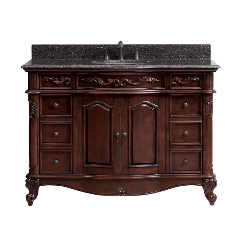 Shop avanity provence antique cherry undermount single for Granite bathroom vanity