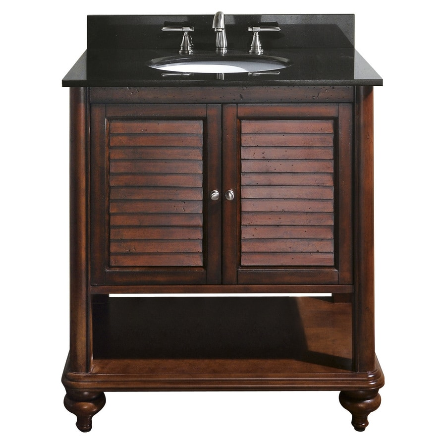 Avanity Tropica Antique Brown (Common: 31-in x 22-in) Undermount Single Sink Poplar Bathroom Vanity with Granite Top (Actual: 31-in x 22-in)