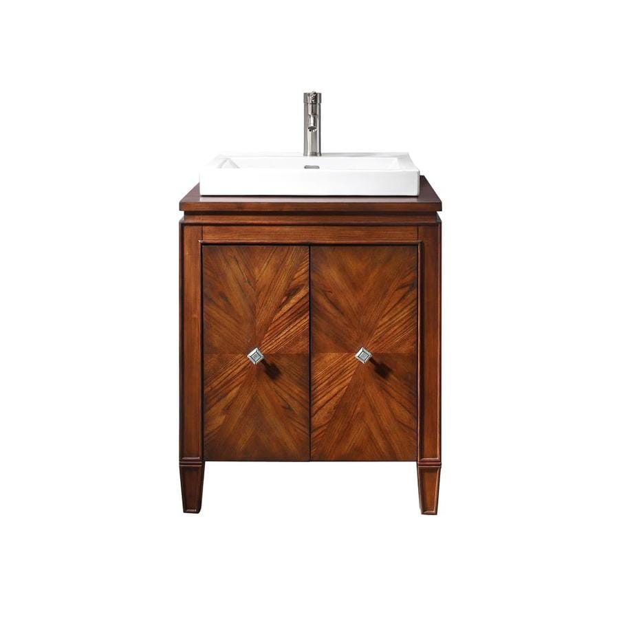 Avanity Brentwood New Walnut Integrated Single Sink Bathroom Vanity with Wood Top (Common: 25-in x 21-in; Actual: 25-in x 21-in)