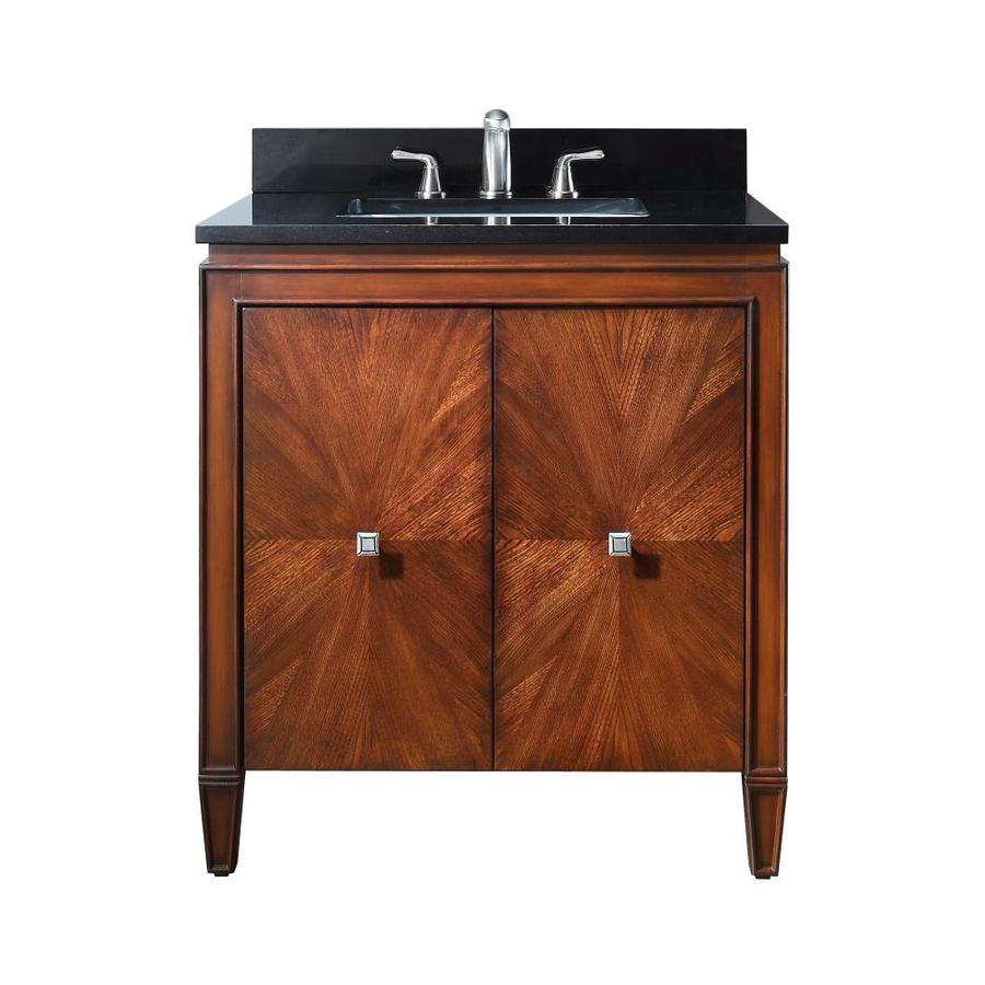 Avanity Brentwood New Walnut (Common: 31-in x 22-in) Undermount Single Sink Poplar Bathroom Vanity with Granite Top (Actual: 31-in x 22-in)