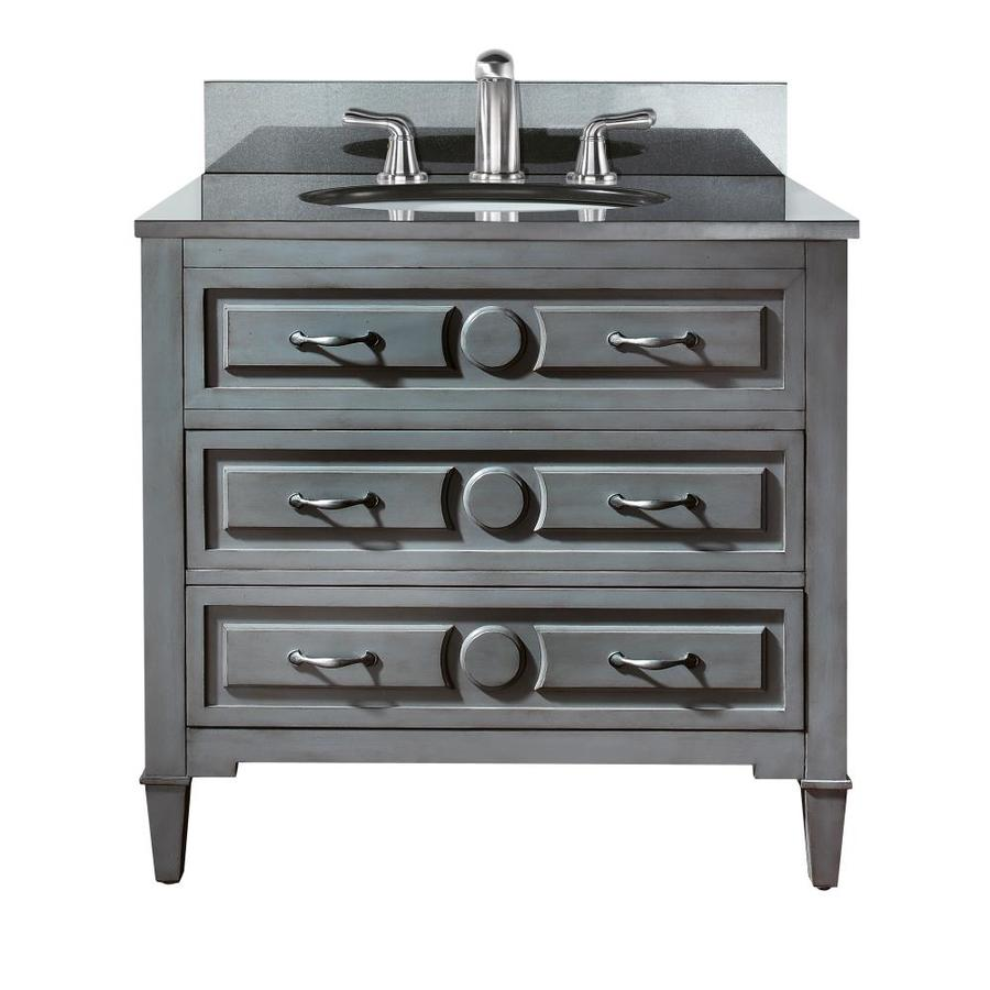 Avanity Kelly Grayish Blue (Common: 37-in x 22-in) Undermount Single Sink Poplar Bathroom Vanity with Granite Top (Actual: 37-in x 22-in)