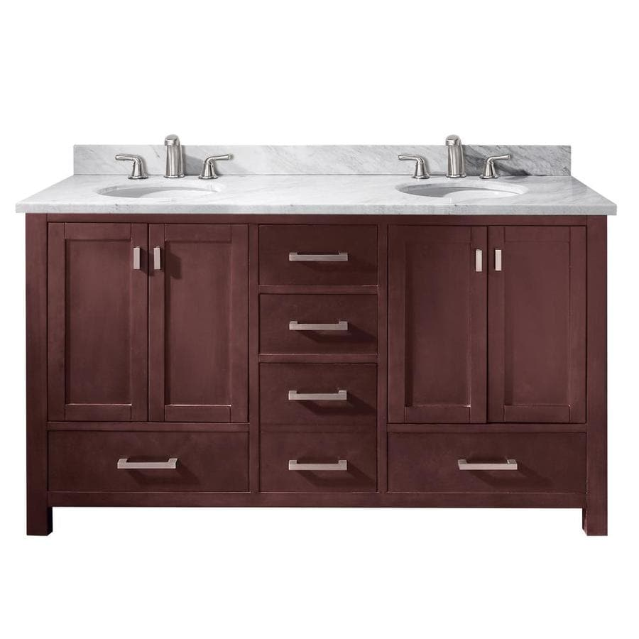 Avanity Modero Espresso 61-in Undermount Double Sink Poplar Bathroom Vanity with Natural Marble Top