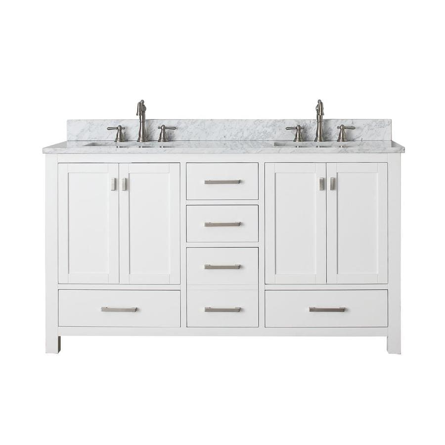 Avanity Modero White (Common: 61-in x 22-in) Undermount Double Sink Poplar Bathroom Vanity with Natural Marble Top (Actual: 61-in x 22-in)