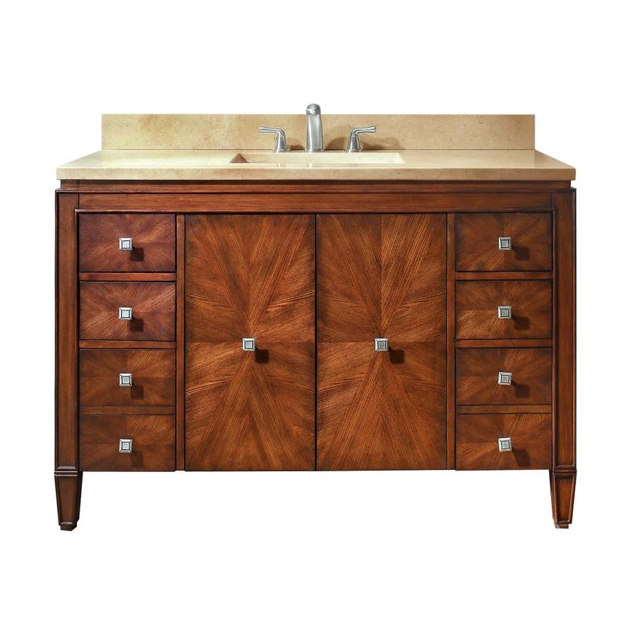 Avanity Brentwood New Walnut (Common: 49-in x 22-in) Undermount Single Sink Poplar Bathroom Vanity with Natural Marble Top (Actual: 49-in x 22-in)