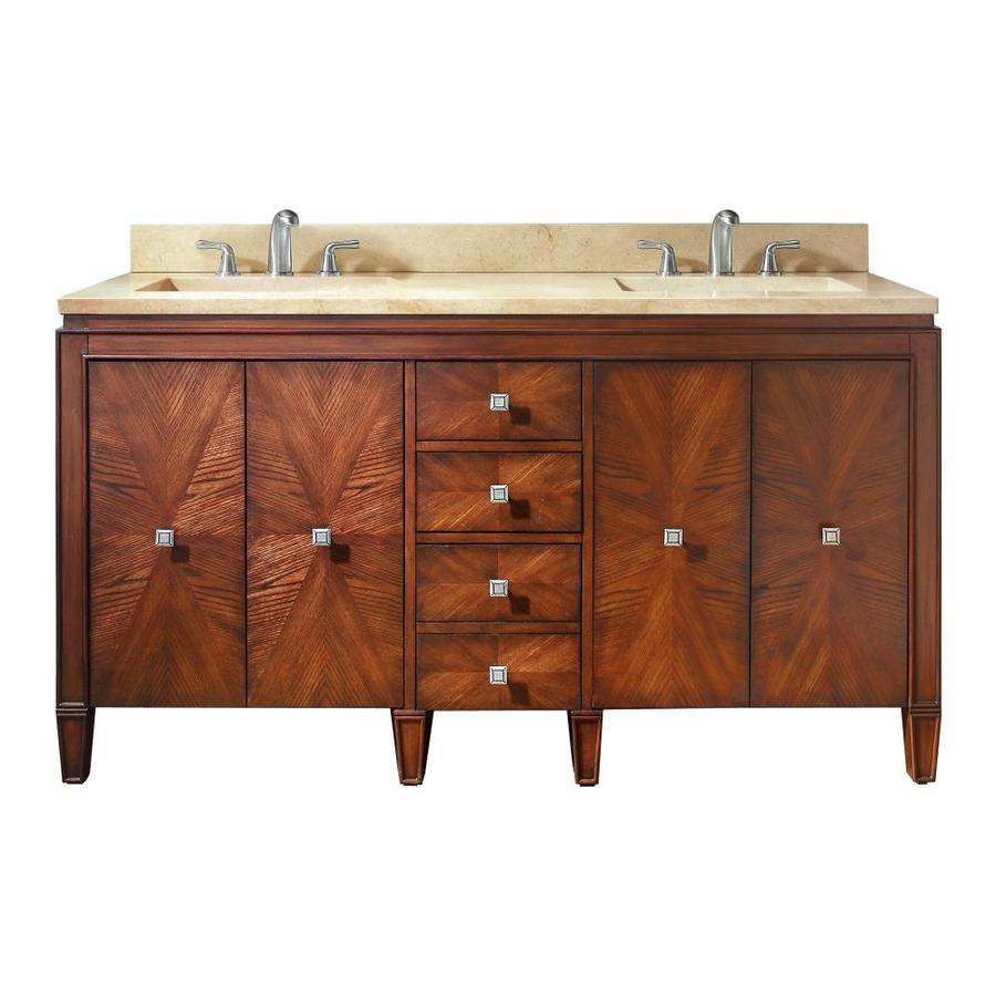 Avanity Brentwood New Walnut 61-in Undermount Double Sink Poplar Bathroom Vanity with Natural Marble Top