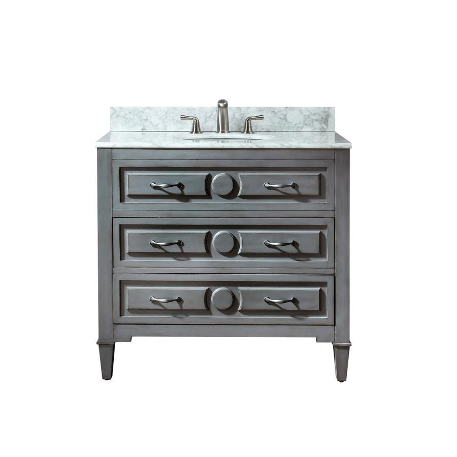 Avanity Kelly Grayish Blue Undermount Single Sink Bathroom Vanity with Natural Marble Top (Common: 37-in x 22-in; Actual: 37-in x 22-in)