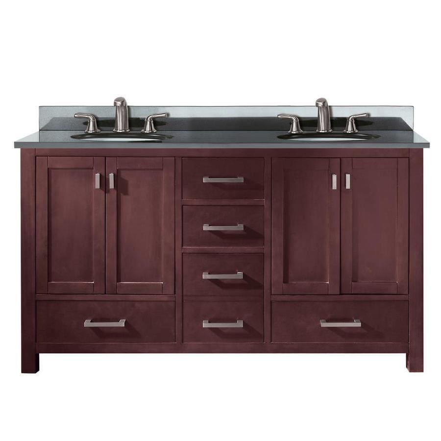 Avanity Modero Espresso Undermount Double Sink Bathroom Vanity with Granite Top (Common: 61-in x 22-in; Actual: 61-in x 22-in)