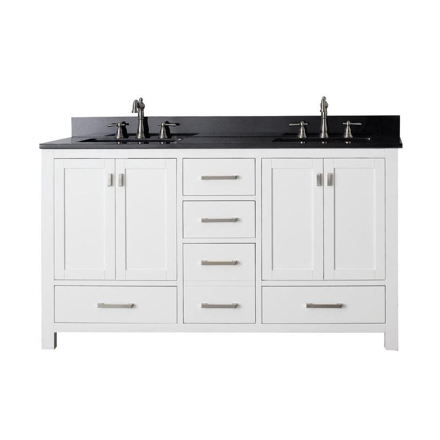 Shop avanity modero white undermount double sink bathroom vanity with granite top common 61 in - Double bathroom vanities granite tops ...