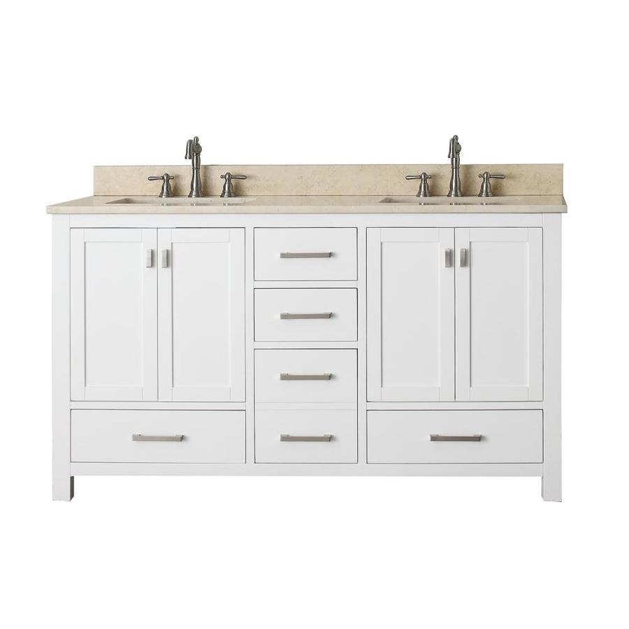 Avanity Modero White 61-in Undermount Double Sink Poplar Bathroom Vanity with Natural Marble Top