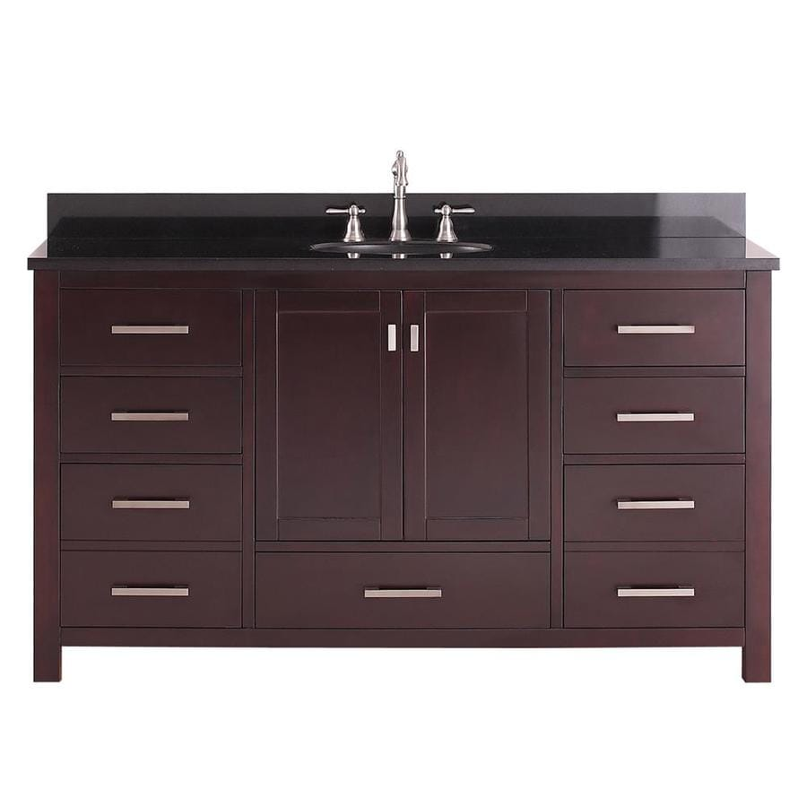 Avanity Modero Espresso Undermount Single Sink Bathroom Vanity with Granite Top (Common: 61-in x 22-in; Actual: 61-in x 22-in)