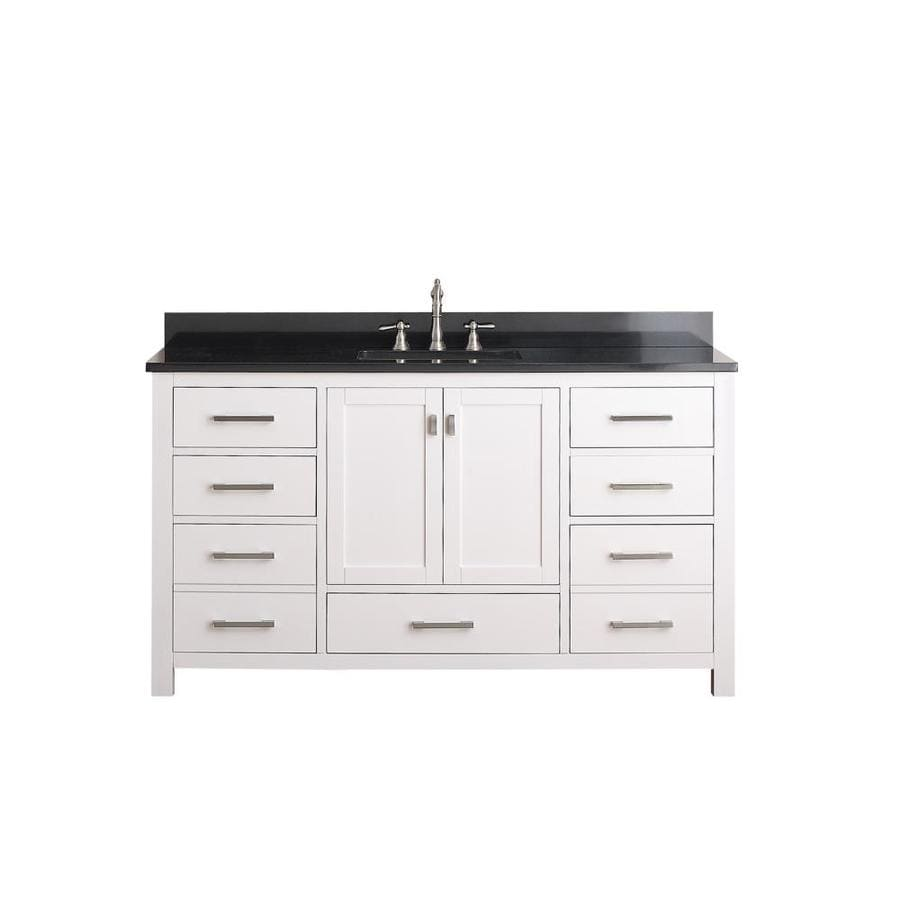 Vanity top common 61 in x 22 in actual 61 in x 22 in at lowes com - Shop Avanity Modero White Undermount Single Sink Bathroom