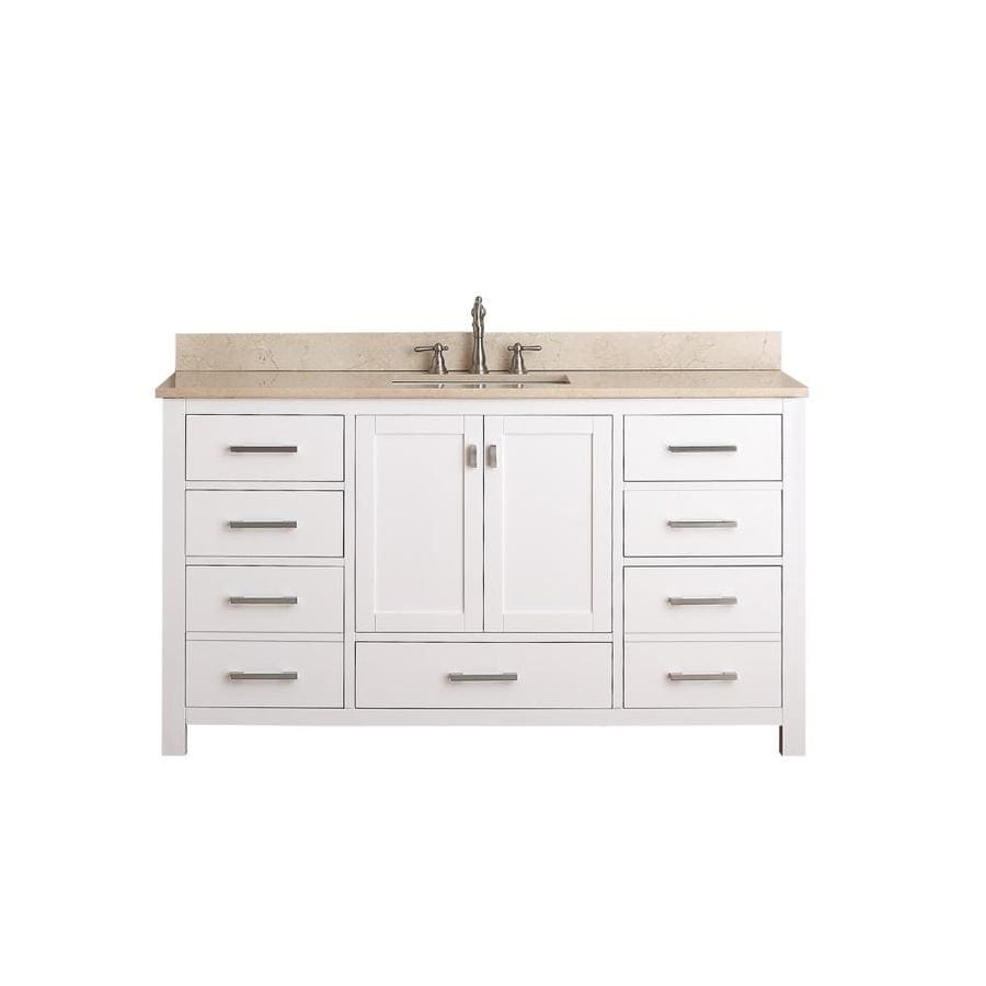 Avanity Modero White Undermount Single Sink Bathroom Vanity with Natural Marble Top (Common: 61-in x 22-in; Actual: 61-in x 22-in)