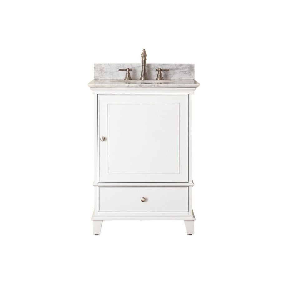 Avanity Windsor White 25-in Undermount Single Sink Poplar Bathroom Vanity with Natural Marble Top