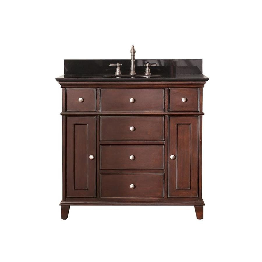 Avanity Windsor Walnut (Common: 37-in x 22-in) Undermount Single Sink Poplar Bathroom Vanity with Granite Top (Actual: 37-in x 22-in)