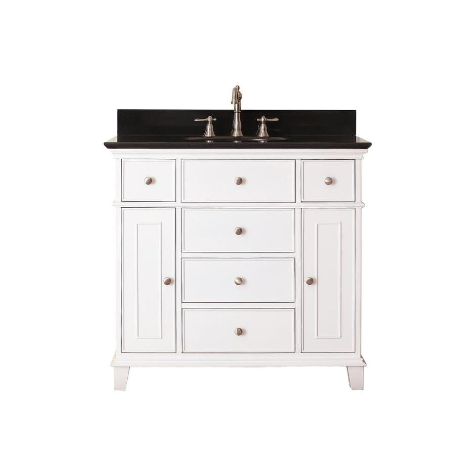 Shop Avanity Windsor White Undermount Single Sink Bathroom Vanity With Granite Top Common 37