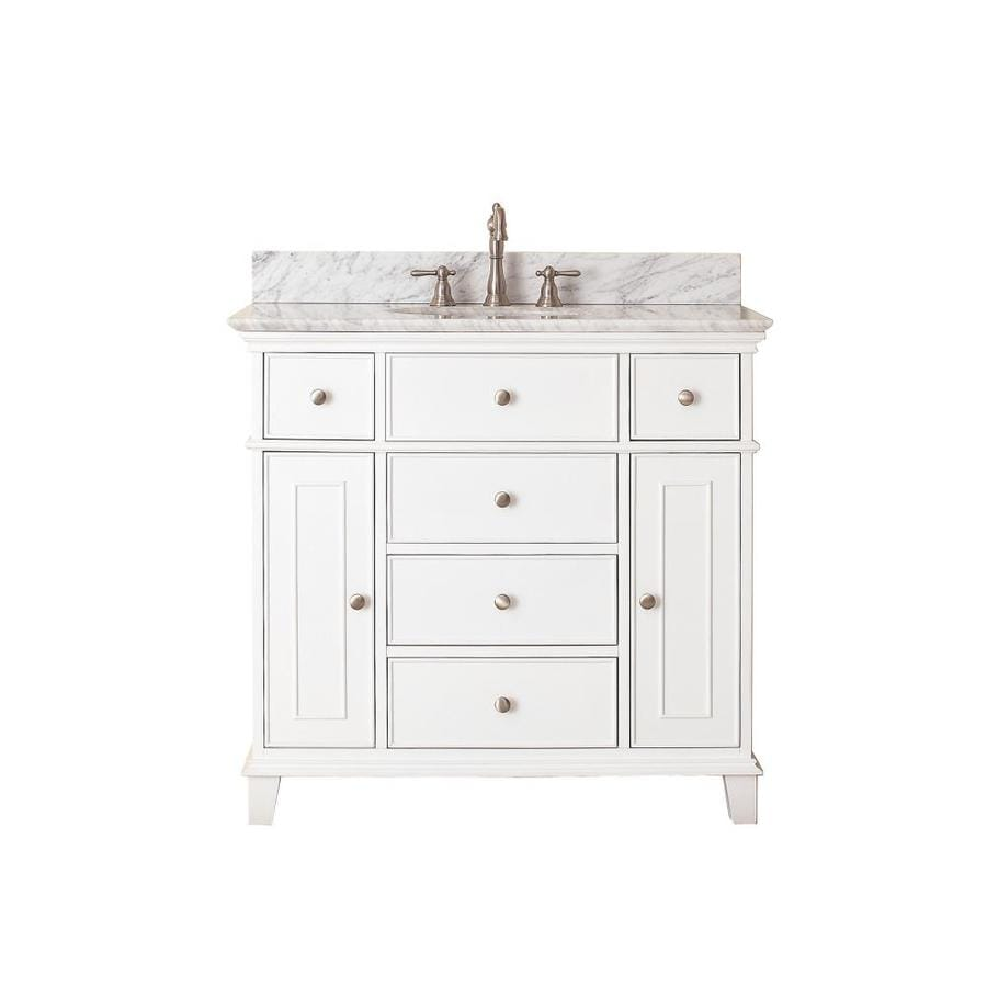 Avanity Windsor White 37-in Undermount Single Sink Poplar Bathroom Vanity with Natural Marble Top