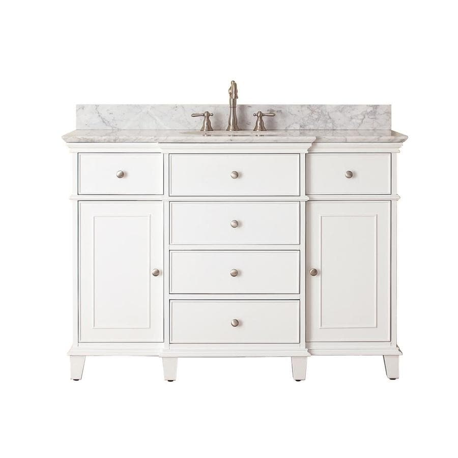 Avanity Windsor White 49-in Undermount Single Sink Poplar Bathroom Vanity with Natural Marble Top