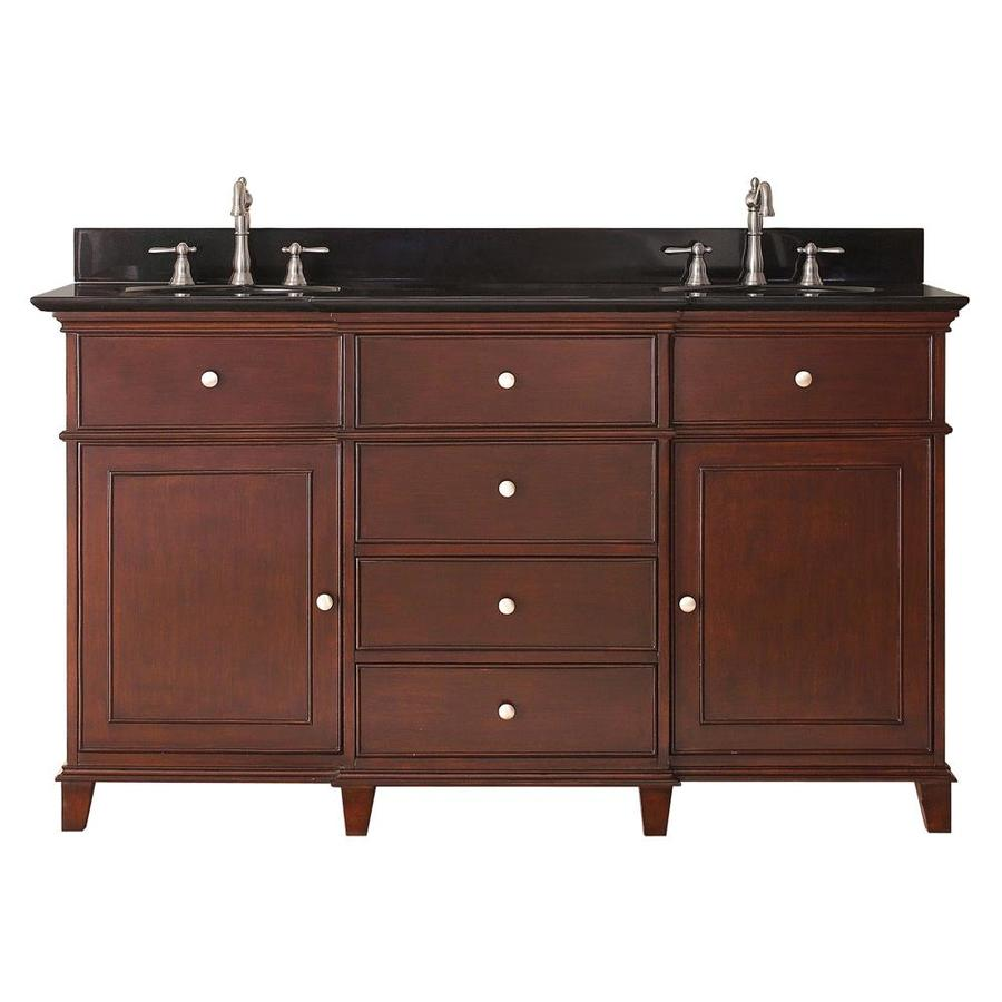Shop avanity windsor walnut undermount double sink bathroom vanity with granite top common 61 - Double bathroom vanities granite tops ...