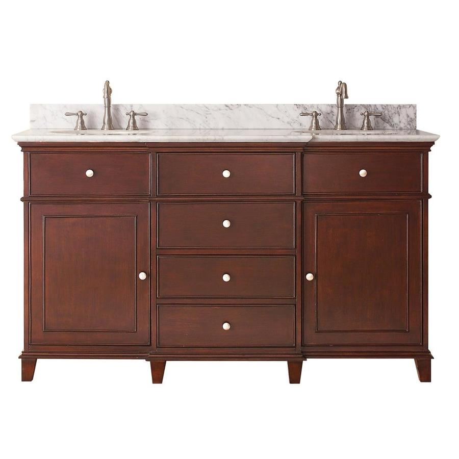 Shop avanity windsor walnut double sink vanity with white - Bathroom vanity double sink marble top ...