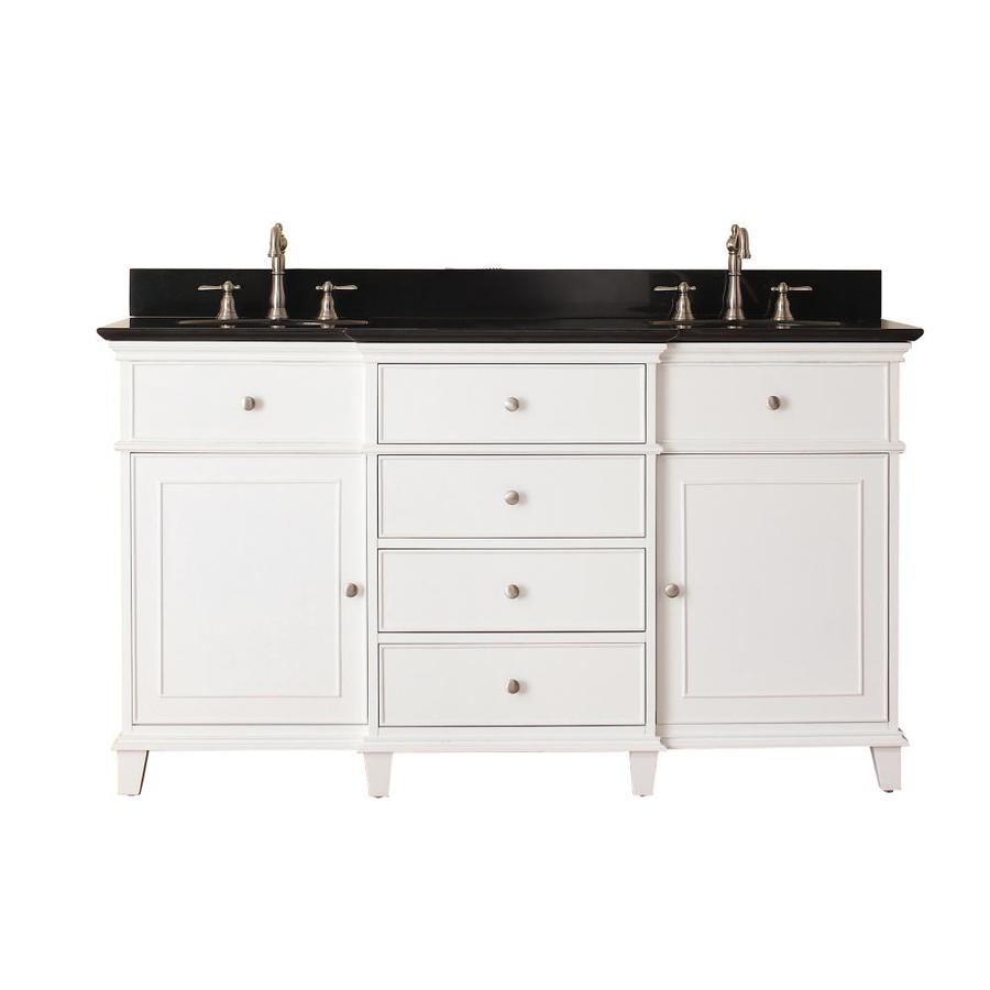 Shop avanity windsor white undermount double sink bathroom vanity with granite top common 61 - Double bathroom vanities granite tops ...