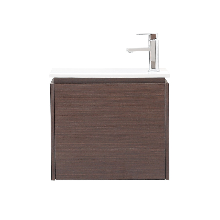 Avanity Milo Iron Wood (Common: 21-in x 14-in) Integral Single Sink Asian Hardwood Bathroom Vanity with Vitreous China Top (Actual: 22-in x 13.2-in)