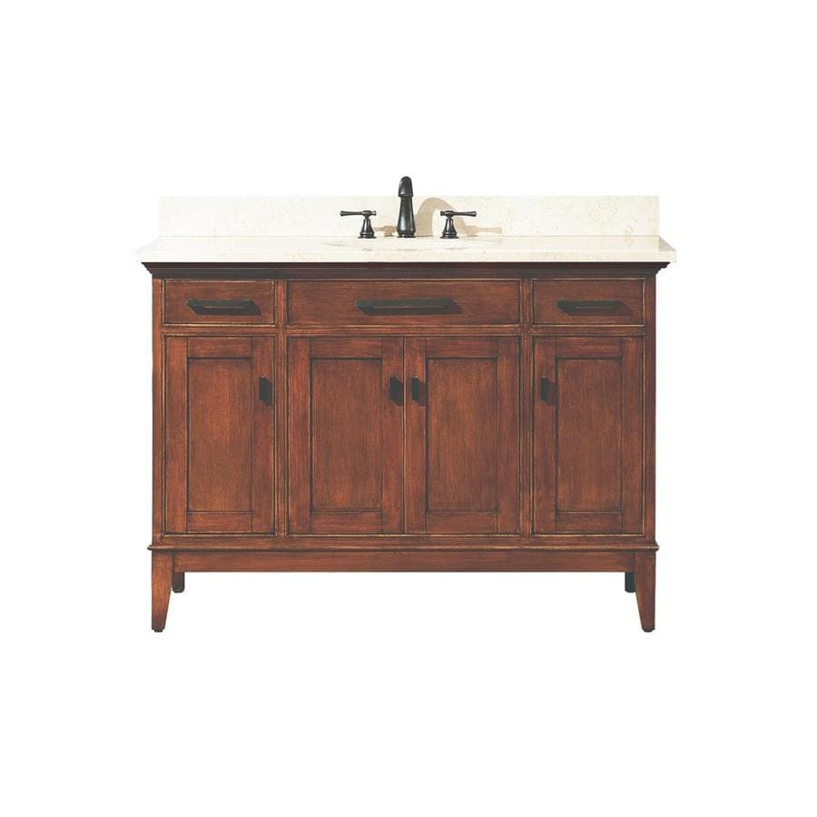 Avanity Madison Tobacco (Common: 49-in x 22-in) Undermount Single Sink Poplar Bathroom Vanity with Natural Marble Top (Actual: 49-in x 22-in)