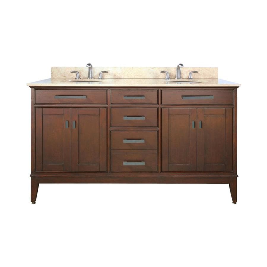 Avanity Madison Tobacco (Common: 61-in x 22-in) Undermount Double Sink Poplar Bathroom Vanity with Natural Marble Top (Actual: 61-in x 22-in)