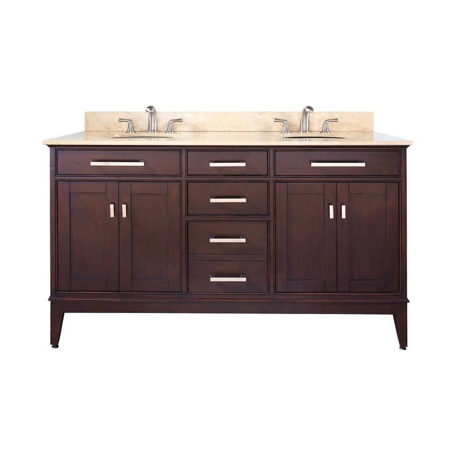 Avanity Madison Light Espresso Undermount Double Sink Bathroom Vanity with Natural Marble Top (Common: 61-in x 22-in; Actual: 61-in x 22-in)