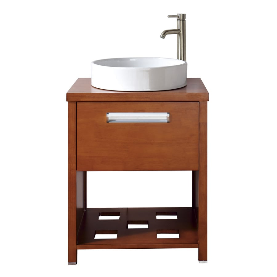 19 bathroom vanity and sink shop avanity cosmo 24 in x 19 in chestnut vessel single 21768