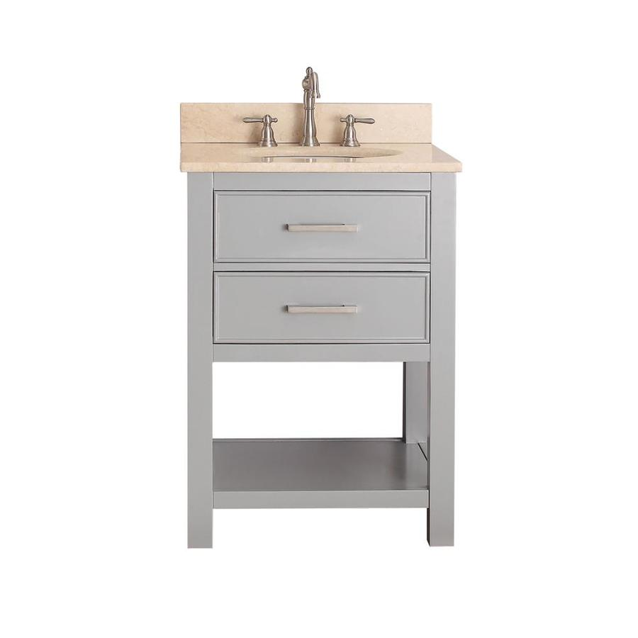 Avanity Brooks Chilled Gray Undermount Single Sink Bathroom Vanity with Natural Marble Top (Common: 25-in x 22-in; Actual: 25-in x 22-in)