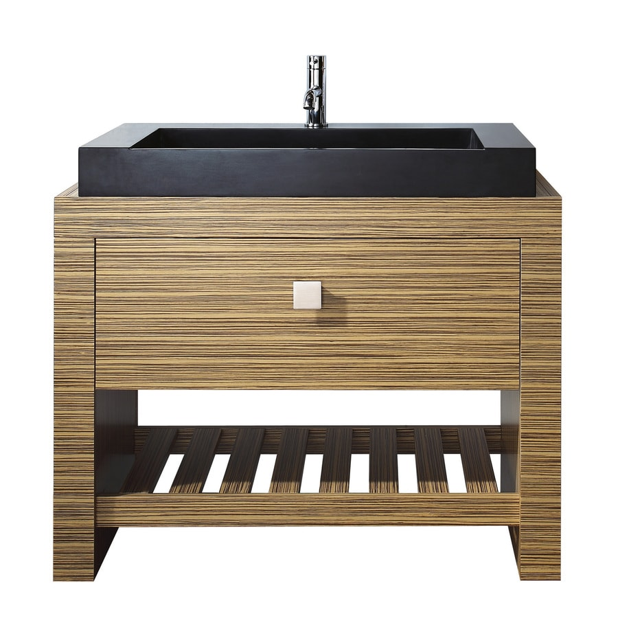 Avanity Knox Zebra Wood Veneer Vessel Single Sink Bathroom Vanity With Wood  Top (Common: