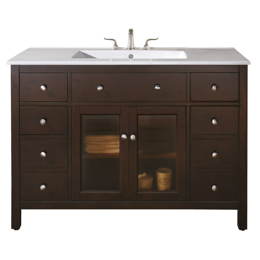 shop avanity lexington light espresso 48 in casual bathroom vanity at. Black Bedroom Furniture Sets. Home Design Ideas