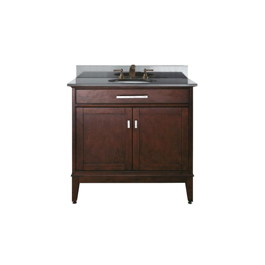 Shop avanity madison espresso undermount single sink for Granite bathroom vanity