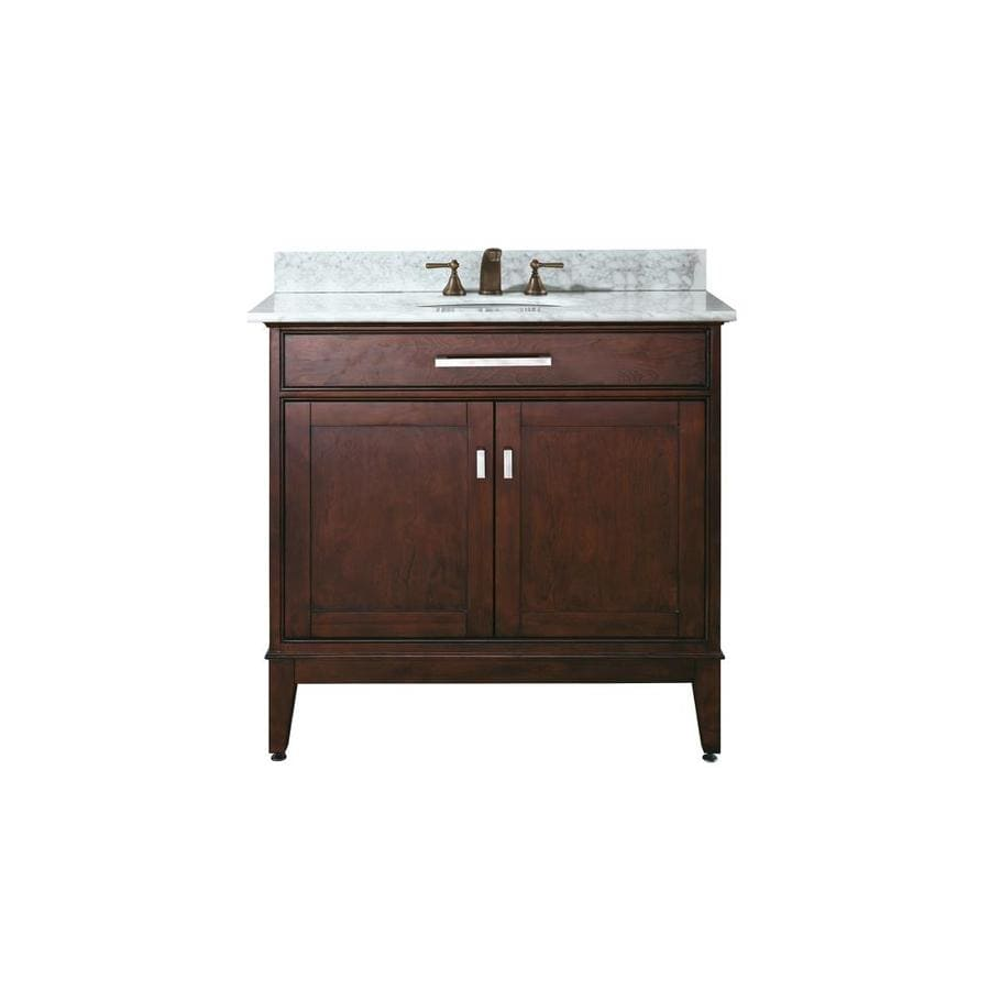 Avanity Madison Espresso Undermount Single Sink Bathroom Vanity with Natural Marble Top (Common: 37-in x 22-in; Actual: 37-in x 22-in)