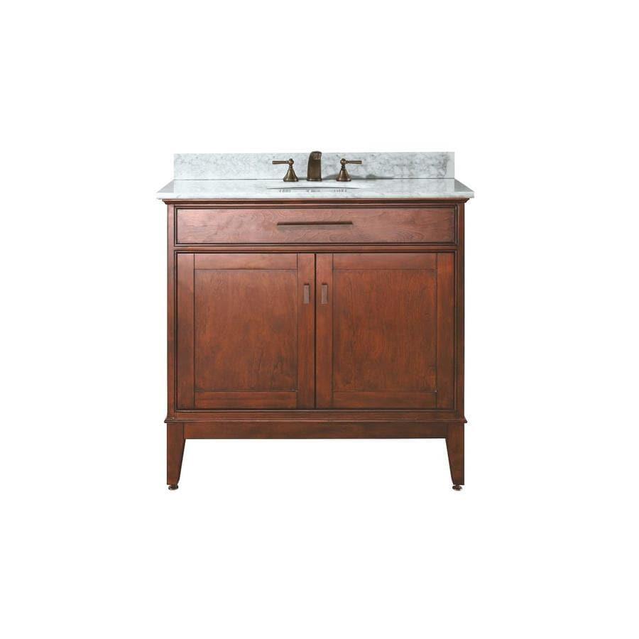 Avanity Madison Tobacco 37-in Undermount Single Sink Poplar Bathroom Vanity with Natural Marble Top