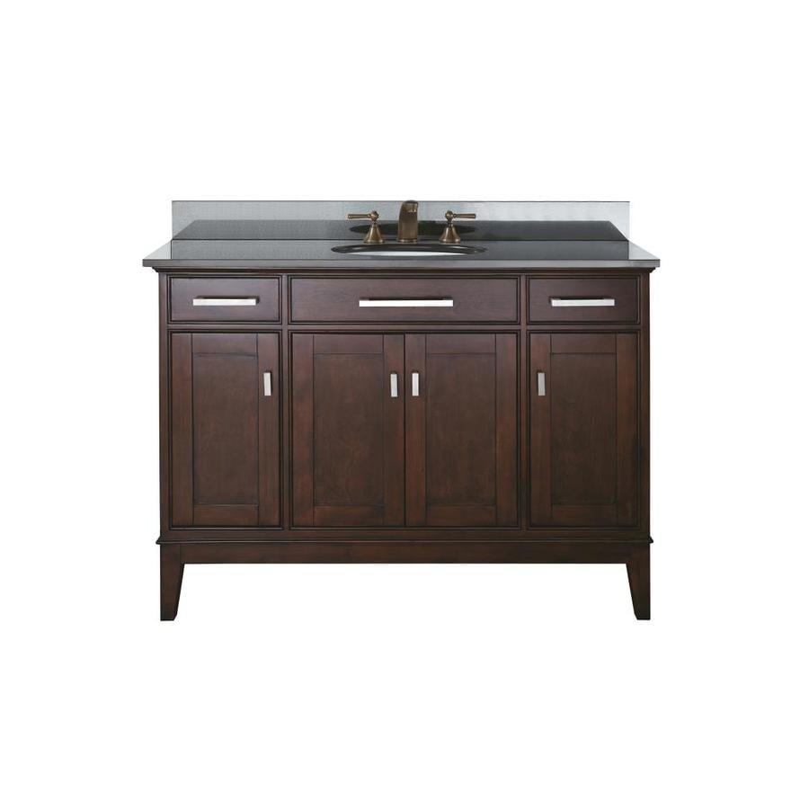 Avanity Madison Espresso 49-in Undermount Single Sink Poplar Bathroom Vanity with Granite Top